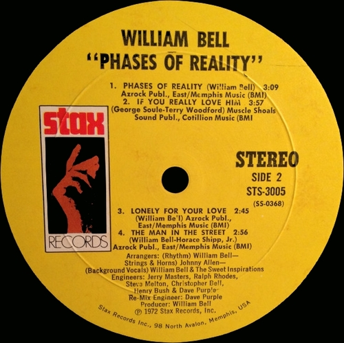 "William Bell : Album "" Phases Of Reality "" Stax Records STS 3005 [ US ]"