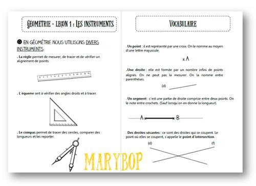 Géométrie : les instruments et vocabulaire.