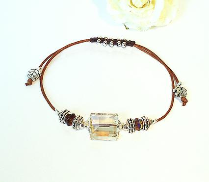 Bracelets Coulissants Marron clair / Brun foncé - Macramé et Cristal / Plaqué argent