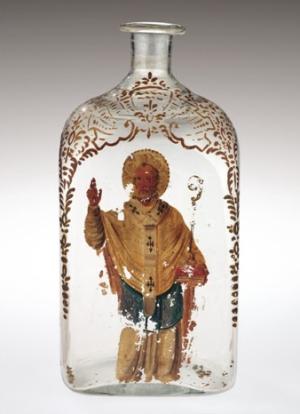 Un flacon en verre du dix-septième siècle conçu pour contenir Manna of St Nicholas - une huile curative censée couler miraculeusement de la tombe du saint à Bari. Selon des sources contemporaines, Aqua Tofana a été vendu, déguisé en manne, dans des bouteilles comme celle-ci.