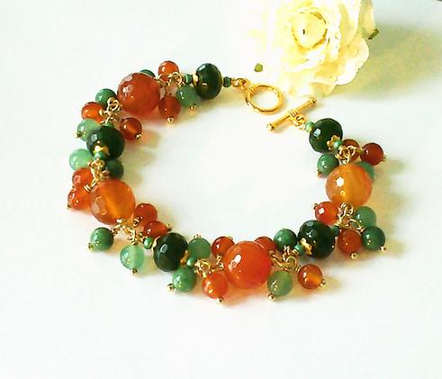 Bracelet Grappe Orange-Vert, Pierre de Cornaline, Jade, aventurine et Jaspe Vert / Laiton et plaqué Or