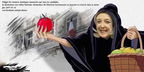 dessin de JERC mardi 10 janvier 2017 caricature Marine Le Pen les fonctionnaires vont donner le bâton pour se faire battre  www.facebook.com/jercdessin