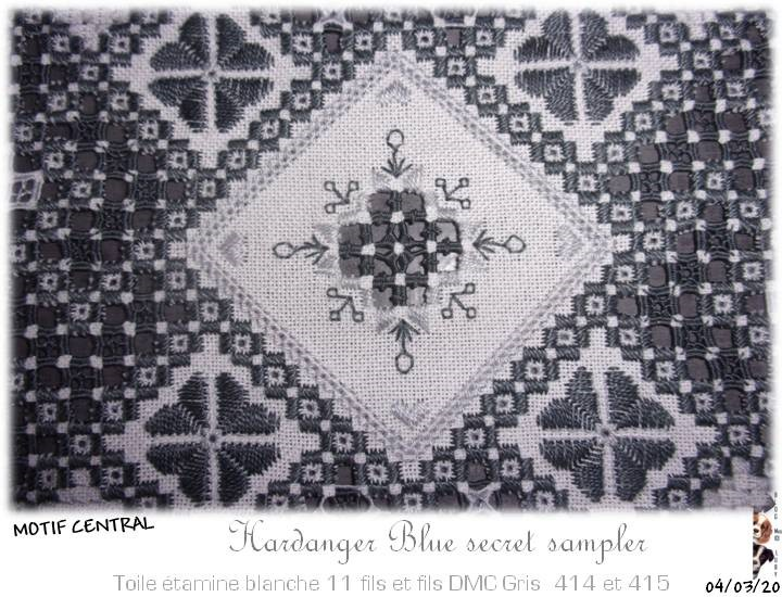 The Blue Secret Hardanger Sampler * IL EST FINI, il reste la finition