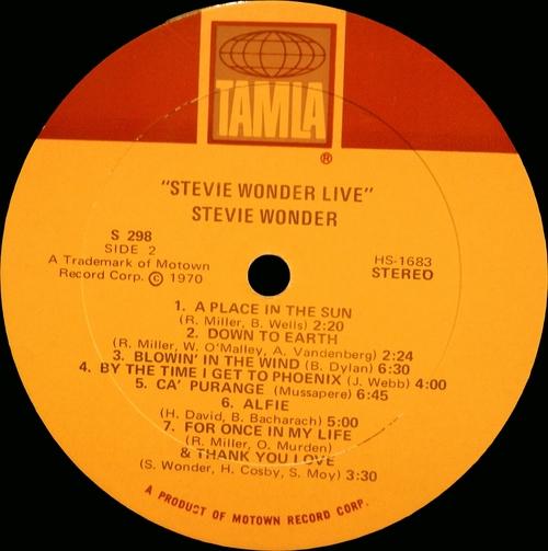 "Stevie Wonder : Album "" Live "" Tamla Records TS 298 [ US ]"