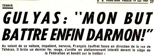 18 mai 1967 : Sheila tire les joueurs de la Coupe Davis.