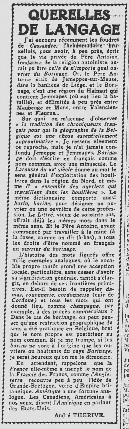 André Thérive - Querelles de langage (Les Nouvelles littéraires, artistiques et scientifiques, 4 avril 1936)