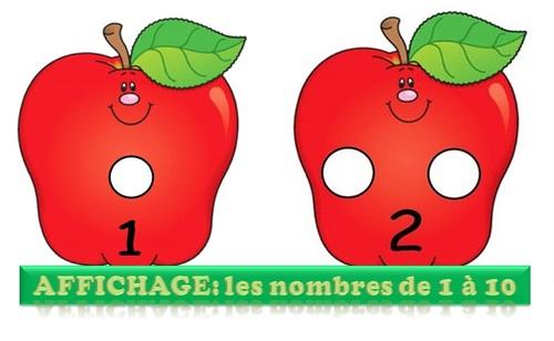 MATERNELLE-AFFICHAGE-NOMBRES DE 1 à 10- AUTOMNE- les pommes