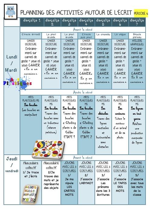 Période 5 Planning des activités Vers l'écriture MS/GS