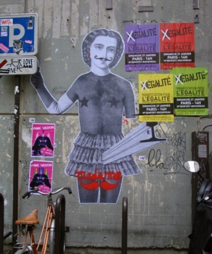 street-art militant Madame Moustache Pink Vador