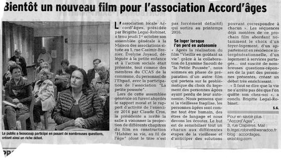 A.G. du 1/10/2015 (Dauphiné Libéré du 4/10)