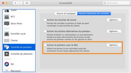 MacOS 10.15.4 Catalina intègre un contrôle du curseur utilisant les mouvements la tête