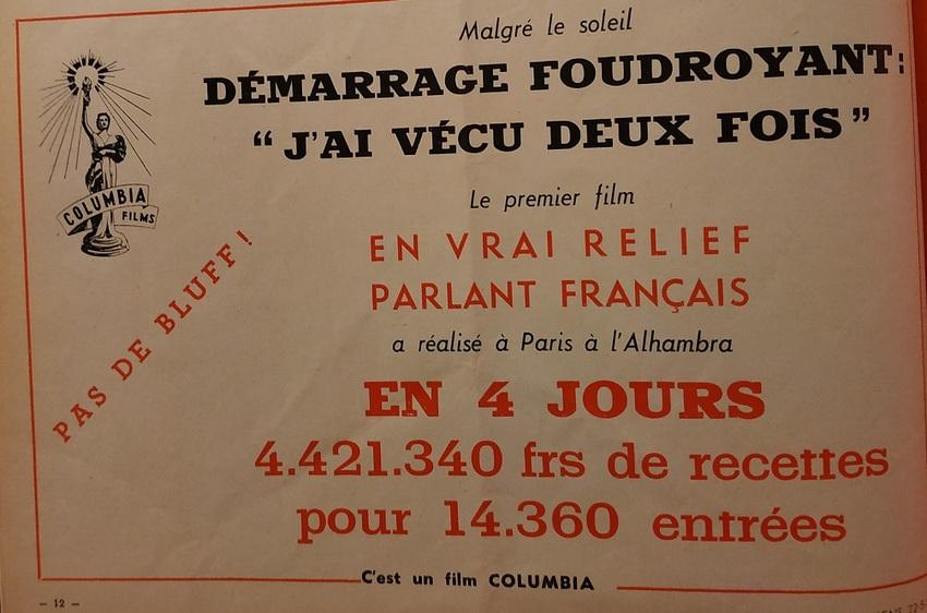 BOX OFFICE PARIS DU 15 MAI 1953 AU 21 MAI 1953