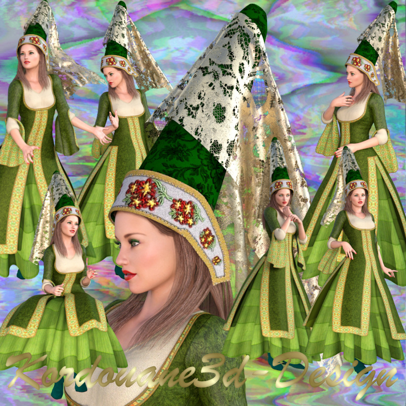Femme médiévale (tube-image-render)