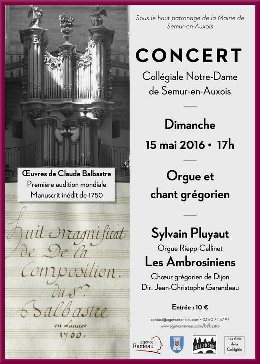 Un splendide concert sera donné à la Collégiale de Semur en Auxois...