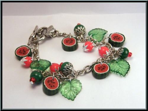 Bracelet et boucles pastèque en Fimo