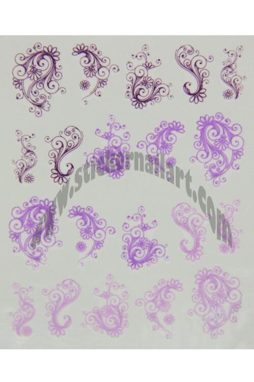 Water decal fleur violet