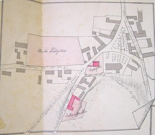 Plans du quartier de l'église et de la mairie 1884
