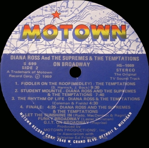 "Diana Ross & The Supremes & The Temptations : Album "" On Broadway ( Original T.V. Soundtrack ) "" Motown Records MS 699 [ US ]"