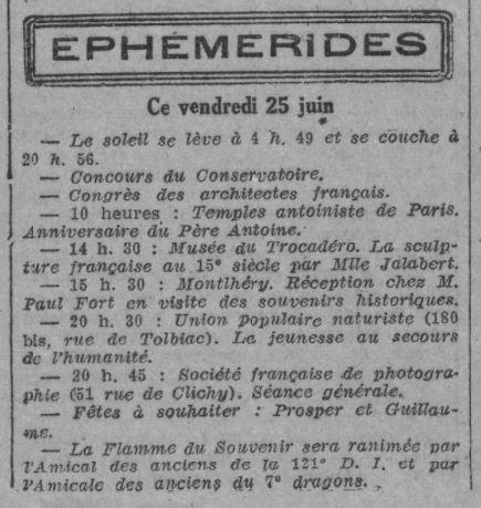 Anniversaire du Père Antoine (Le Rappel 25 juin 1926)