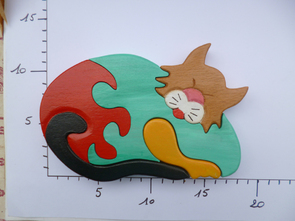 Puzzle Chat Cat Toy Jouet Bois Wood