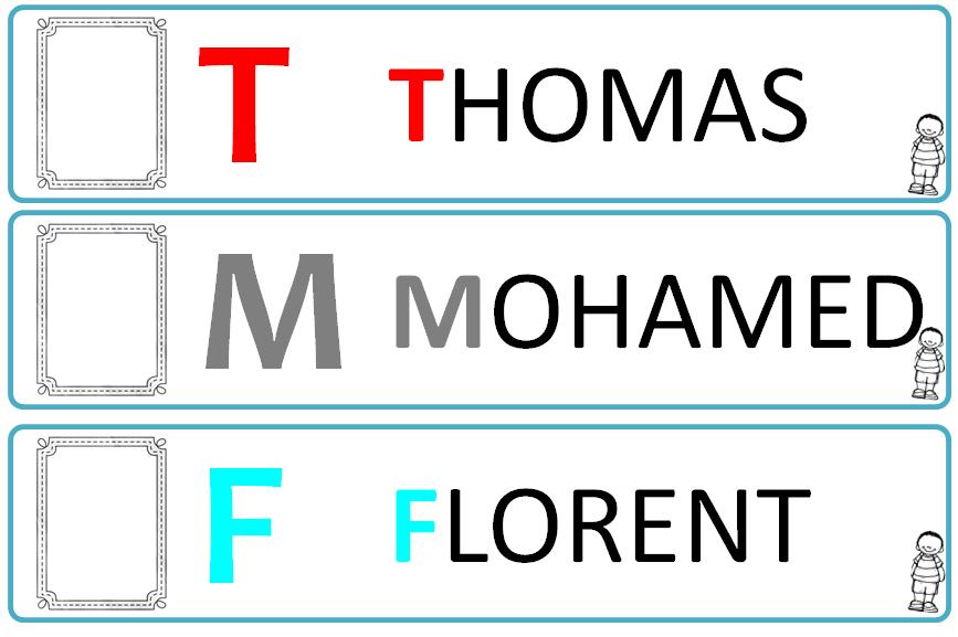 Très Cartes/étiquettes prénom, initiale, photo - la Fouine en clis YV74
