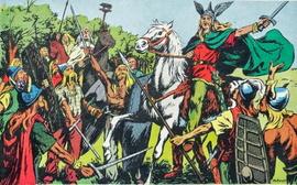 """""""Vercingétorix chef de l'armée gauloise"""" image tirée d'un manuel scolaire ancien."""