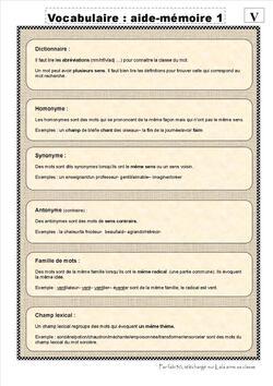 Mémento de Vocabulaire