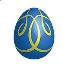 Large Blue Easter Egg With Yellow Ornaments