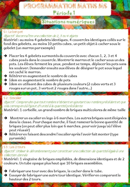 Programmation mathématiques Période 1 MS/GS