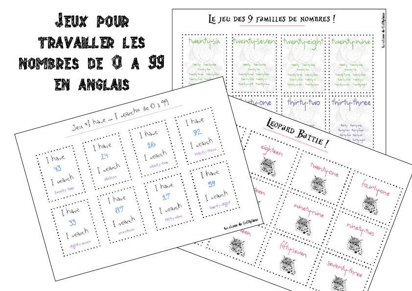 Super 3 Jeux sur les nombres de 0 à 99 en anglais - la classe de Calliplume OO98
