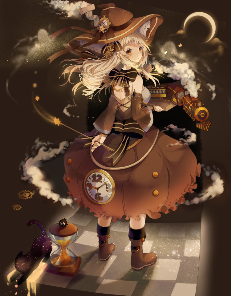Tags: Anime, Hoshi-Pan, Steampunk, Chimney, Hourglass, Pocket Watch, Pixiv, Original