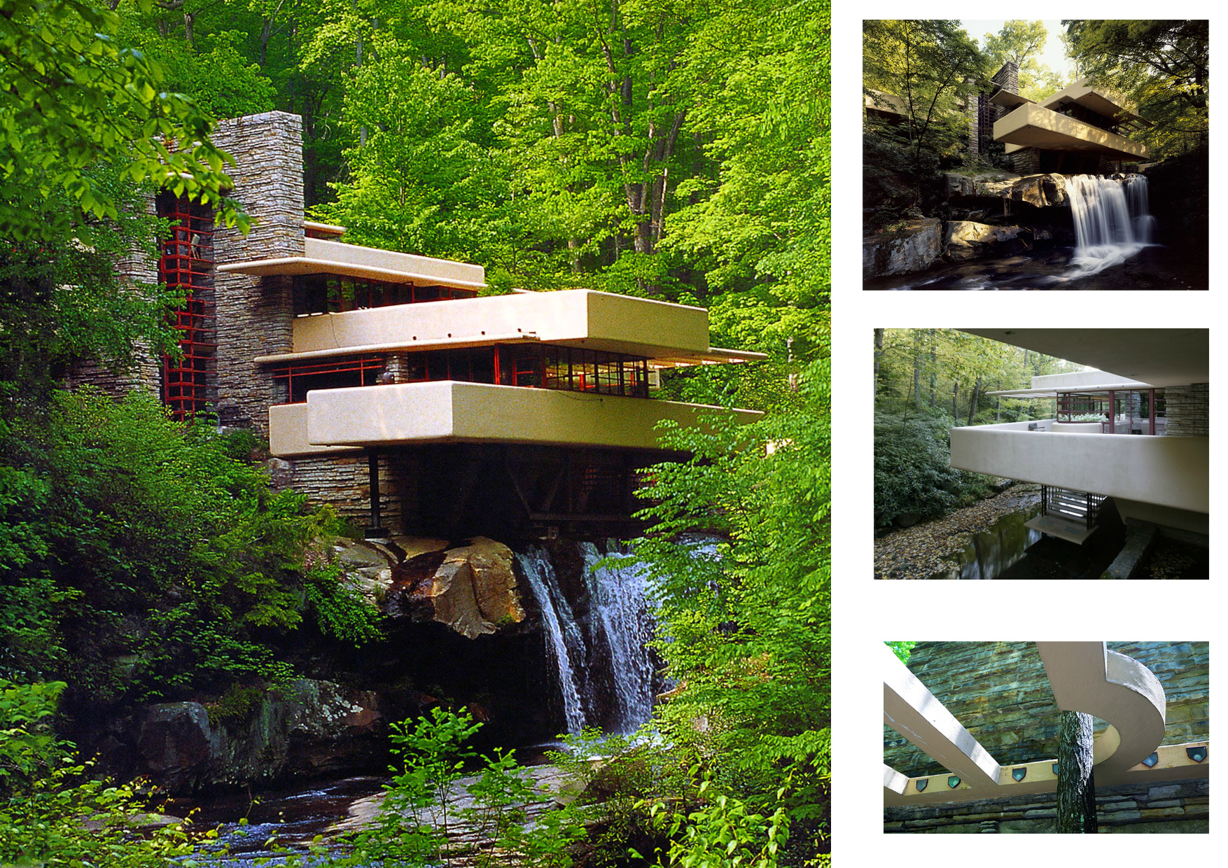 Kaufman residence ce chef doeuvre de larchitecture est comme posé sur la cascade des bords de la rivière bear run en pennsylvanie aux etats unis