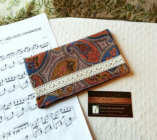 Porte chéquier / Porte-cartes tissu toile tissé arabesques ocre orange bleu