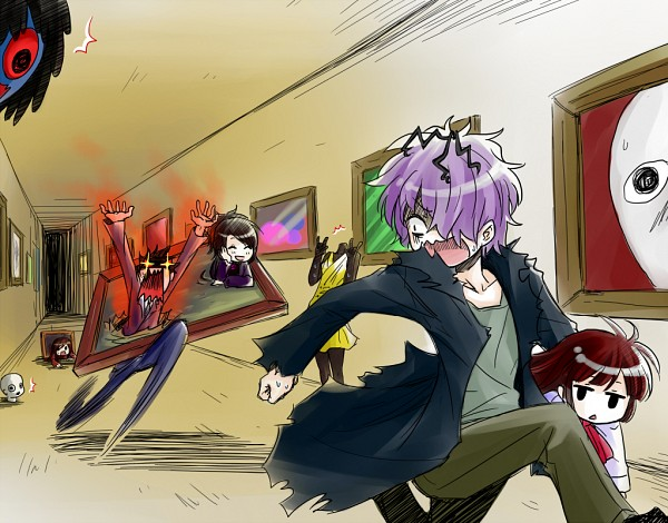 Tags: Anime, Pixiv Id 4021034, Ib, Ib's Father, Ib (Character), Death of the Individual, Garry, Blue Doll, Ib's Mother, Lady in Red, Chasing, Museum, Painting (Object)