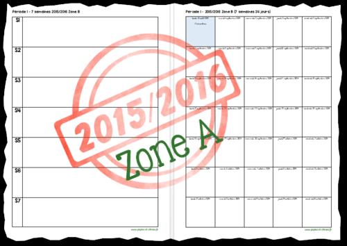 Planning par période Zone A 2015-2016