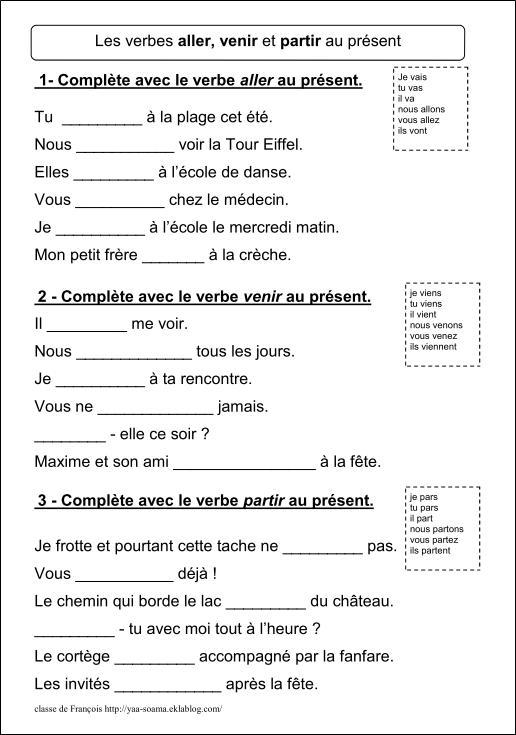 Verbes Aller Venir Partir Faire Dire Voir Pouvoir Vouloir Prendre Au Present Ce2 Classe De Francois