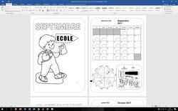 Fichier de coloriages des mois et calendriers