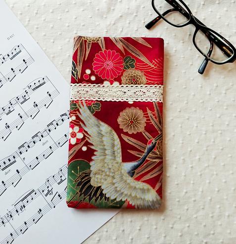 Etui molletonnée pout téléphone, lunettes, maquillage, tissu coton imprimé japonais floral rouge