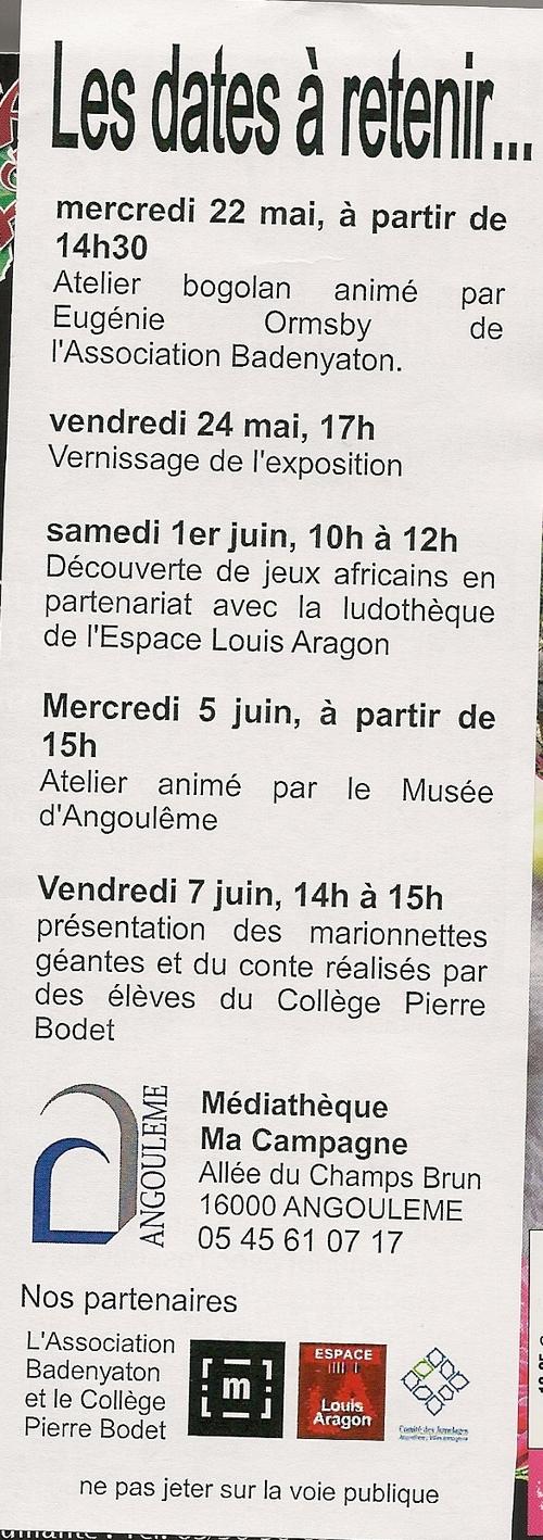 Mali sur Charente à la médiathèque de Ma Campagne à Angoulême