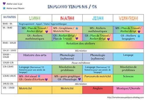 Planning de la première période en MS/GS