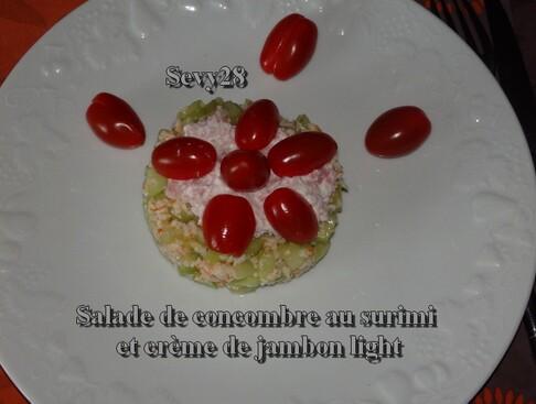 Salade de concombre au surimi et crème de jambon light