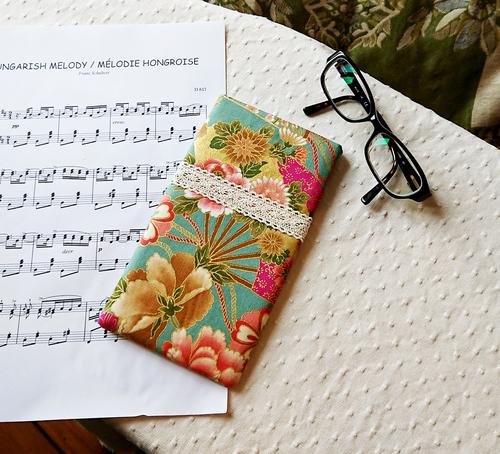 V3 - Etui molletonné pour téléphone, lunettes, maquillage, Tissu floral coton japonais rose vert,19 x 10,5 cm