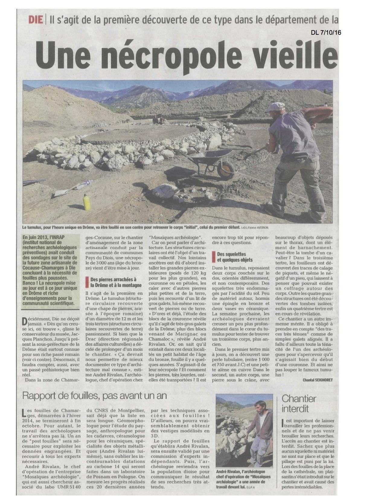 --- Extrait du Dauphiné Libéré du 7 octobre 2016 - image/photo pouvant être protégée par Copyright ou autre ---