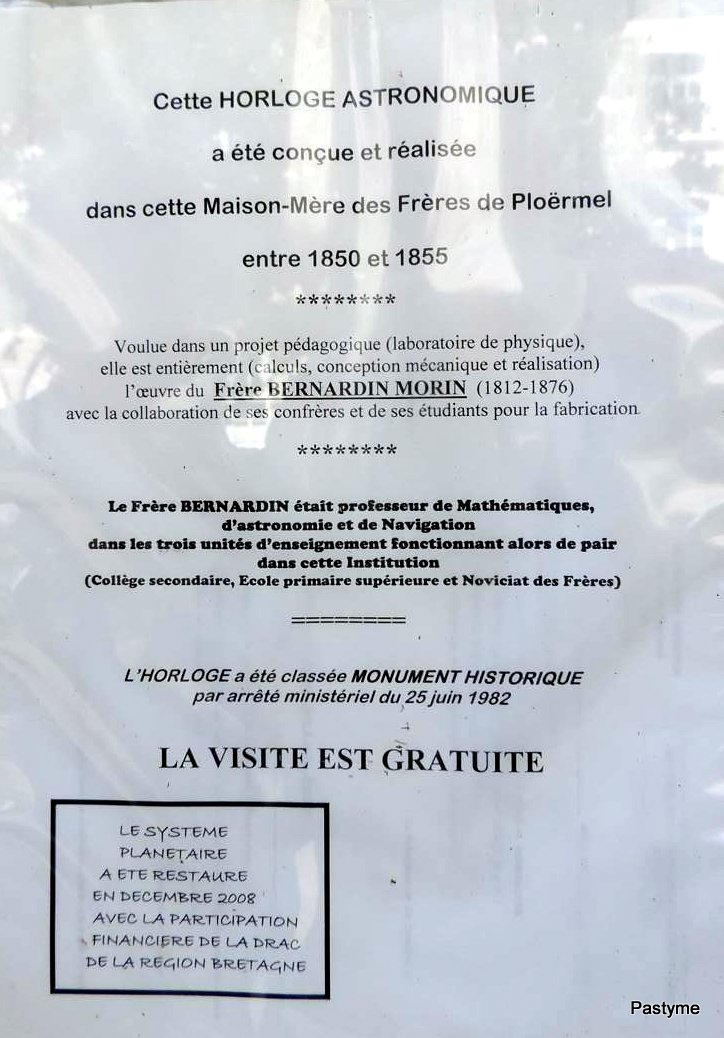 Horloge astronomique de PLOËRMEL (Morbihan)