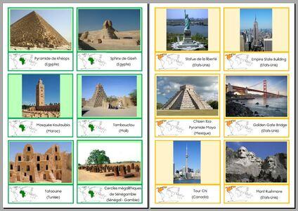 cartes : les monuments des différents continents
