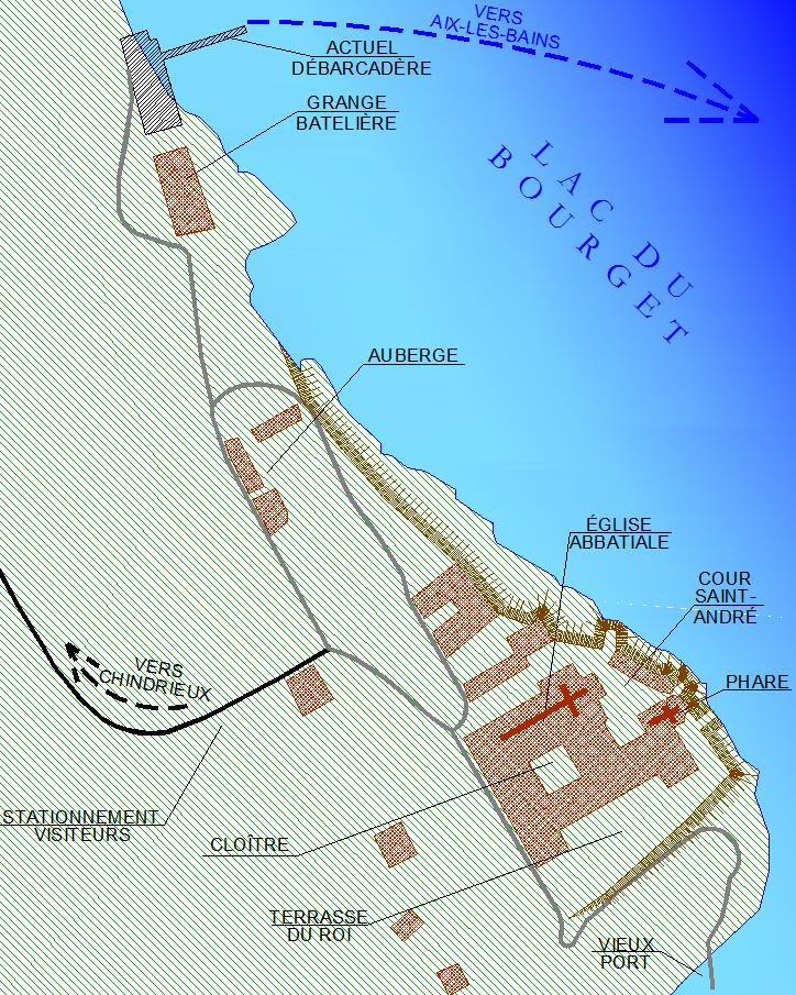 Plan de l'abbaye et de ses environs immédiats.