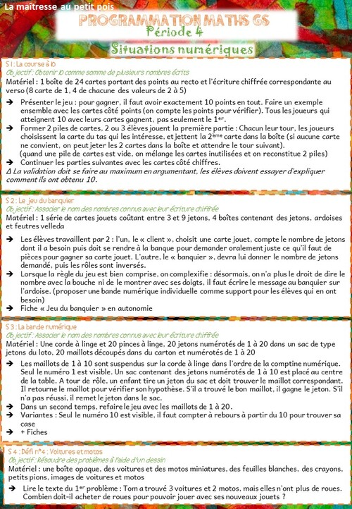 Programmation mathématiques Période 4 MS/GS