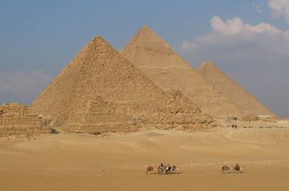 Beautiful view of the Great Pyramids in Cairo Egypt. A major Earth vortex