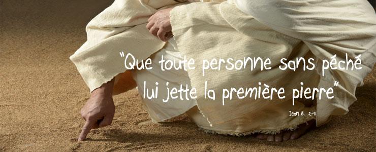 Jésus écrit sur le sol