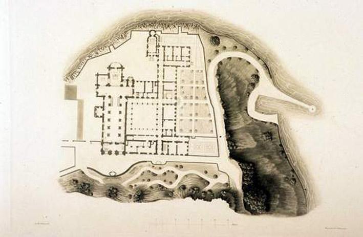 Plan de l'intérieur des bâtiments, dressé en 1844.
